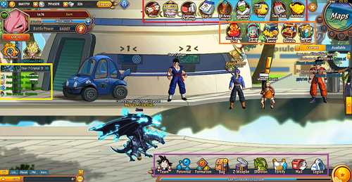 Interface jeu Dragon Ball Z Online